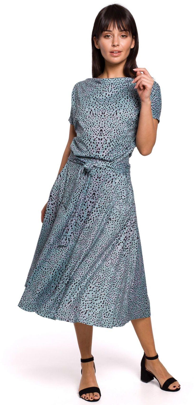 B144 Sukienka z nadrukiem rozkloszowana z paskiem - miętowa