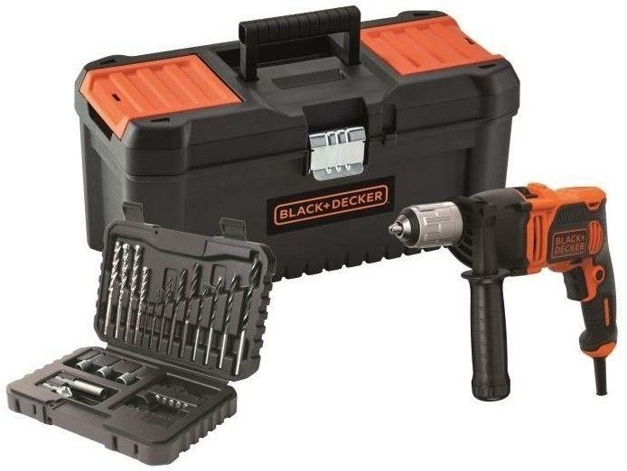 elektryczna wiertarka udarowa 850W + 32 akcesoria w walizce, Black+Decker [BEH850KA32-QS]