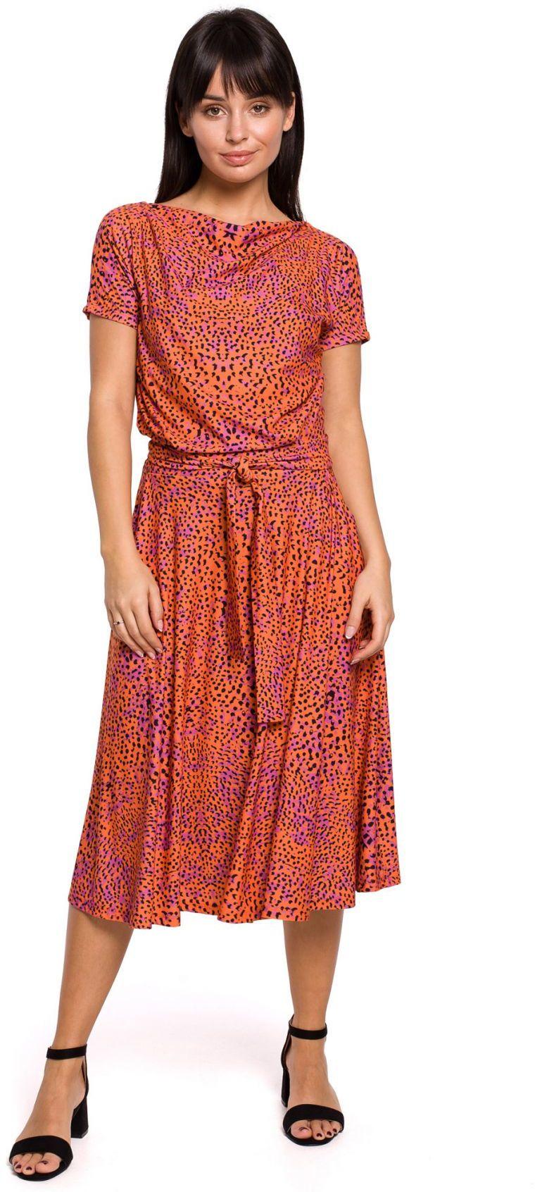 B144 Sukienka z nadrukiem rozkloszowana z paskiem - pomarańczowa