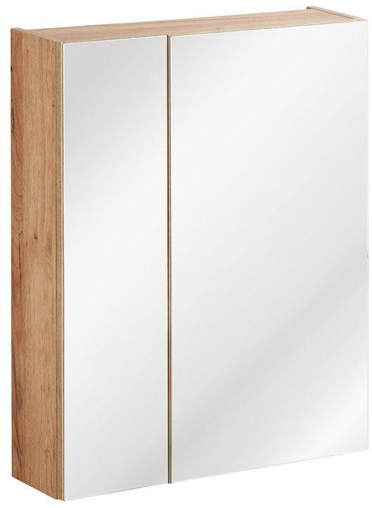 Podwieszana szafka łazienkowa z lustrem - Malta 5X Dąb 60 cm
