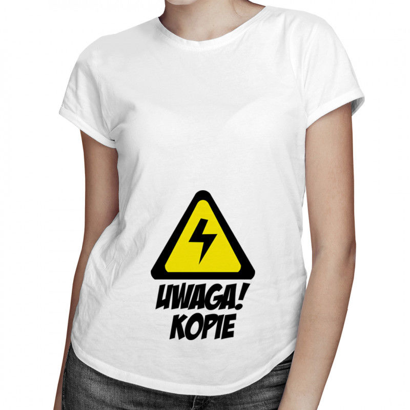 Uwaga! Kopie - damska koszulka z nadrukiem
