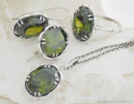 Olivine - srebrny komplet z oliwinami