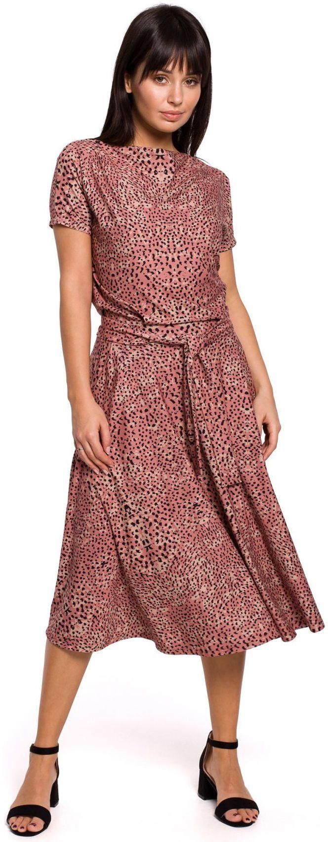 B144 Sukienka z nadrukiem rozkloszowana z paskiem - łososiowa