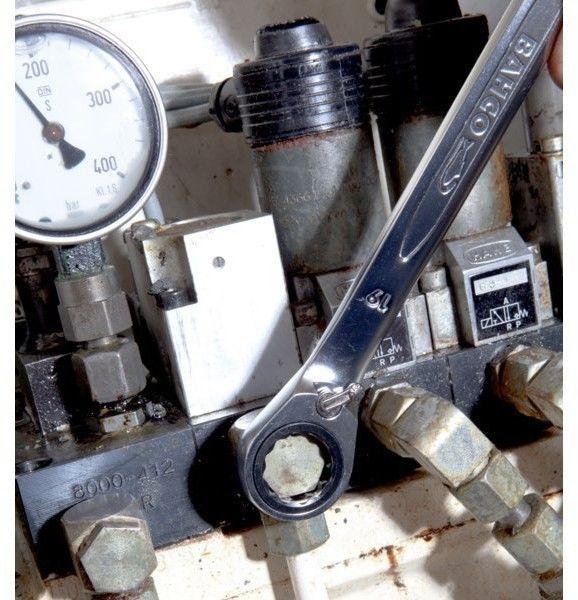 zestaw 12szt. kluczy płasko-oczkowych z dwukierunkową grzechotką 8-19mm, Bahco [1RM/SH12]