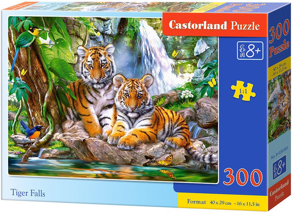 Puzzle Castor 300 - Dwa tygrysy nad rzeczką, Tiger Falls