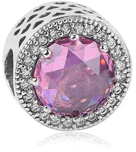 Rodowany srebrny charms do pandora kółko circle wrzosowe cyrkonie srebro 925 QS0460RHWA