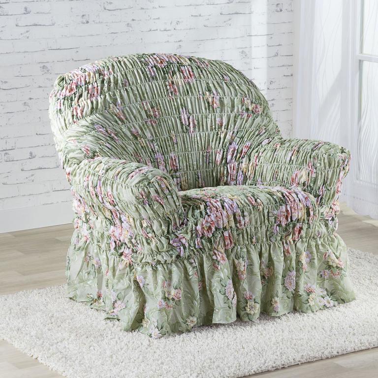Napinające pokrowce z falbaną FIORELA zielone fotel (sz. 60 - 110 cm)