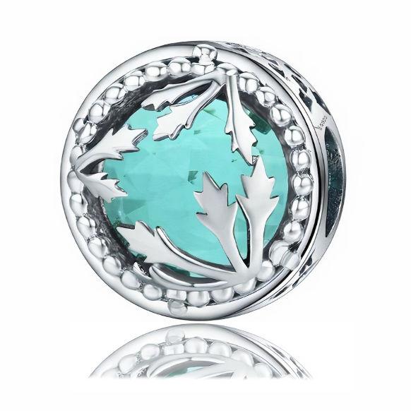 Rodowany srebrny charms do pandora listki liście kółko circle błękitne cyrkonie srebro 925 BEAD110