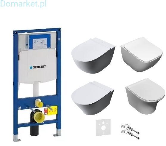 Zestaw podtynkowy: stelaż Geberit Duofix (UP320), misa WC serii Rimless, deska wolnoopadająca, mata oraz wsporniki dystansowe