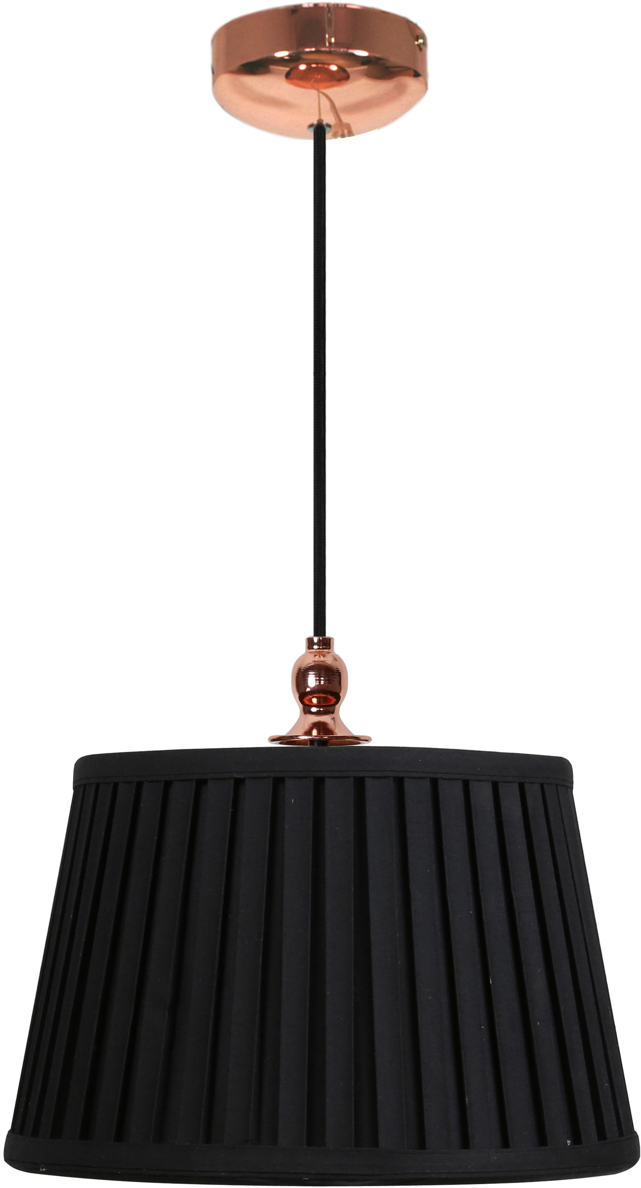 Candellux AMORE 31-39378 lampa wisząca abażur stożek czarny 1X60W E27 miedziany 30cm
