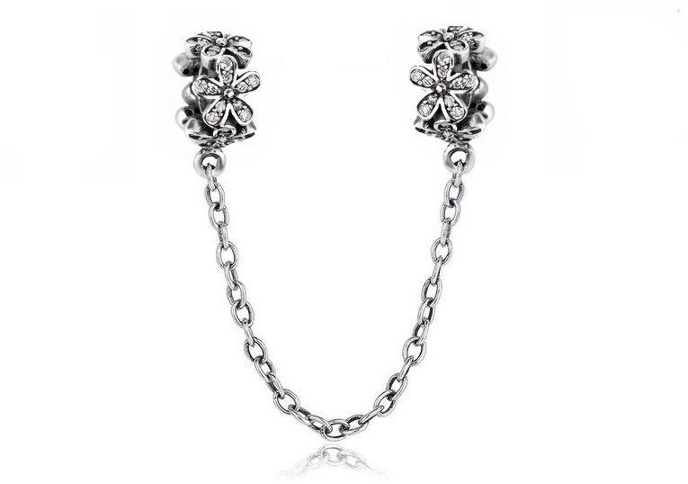 Rodowany srebrny podwójny wiszący charms pandora blokada chain kwiatki flowers cyrkonie srebro 925 SAFETYCHAIN28