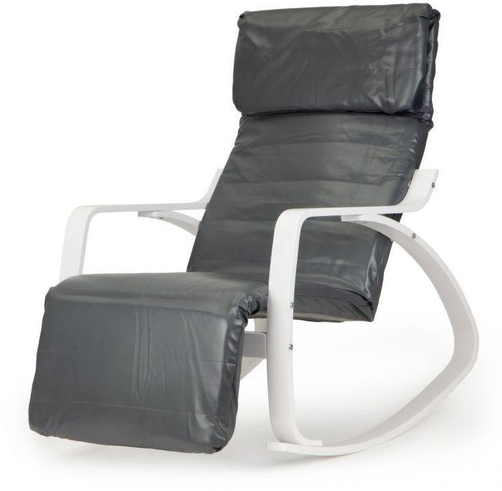 Fotel bujany GOODHOME ekoskóra /biało-szary/