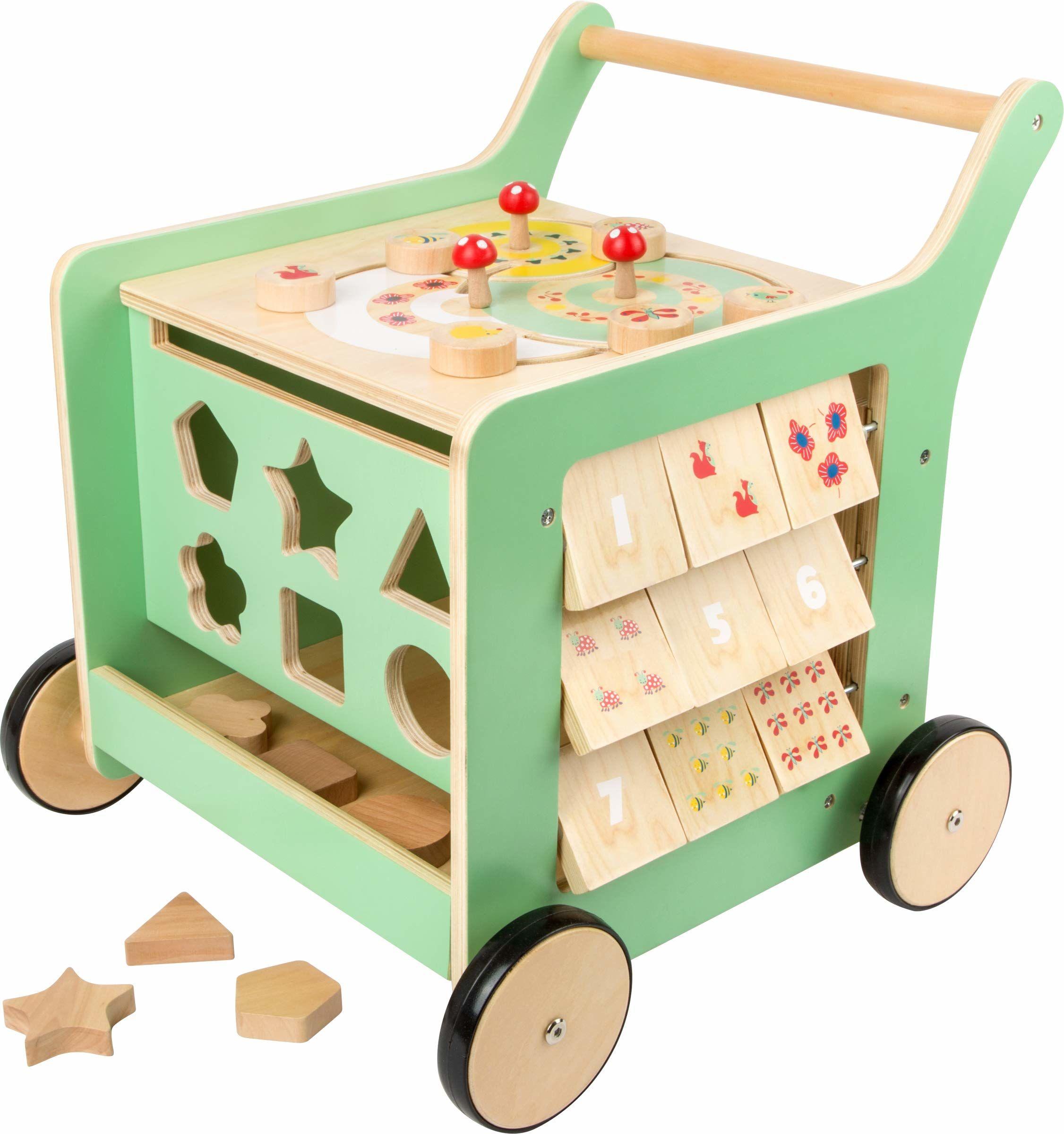 Small Foot 10947 chodzik dla niemowląt, wykonany w 100% z drewna z certyfikatem FSC, zabawka do aktywności motorycznej i pomoc w nauce chodzenia, wielokolorowy