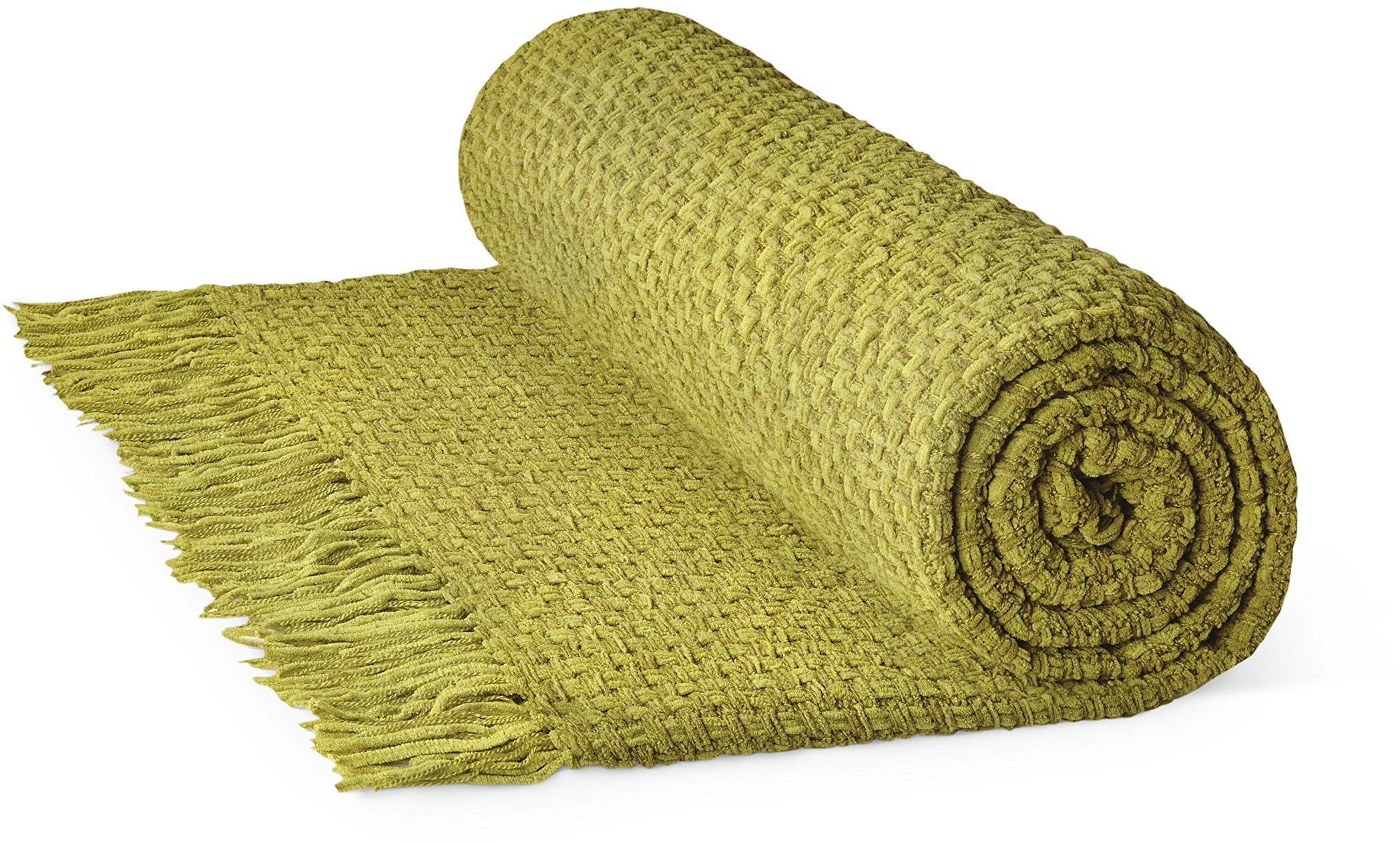 Rapport Aspen kosz splot 100% bawełna narzuta, 150 x 200 cm - oliwkowy, pojedynczy