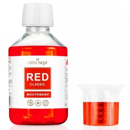 Orthosept Red Classic - medyczny płyn do płukania jamy ustnej z chlorheksydyną 0,2% bez alkoholu 200 ml
