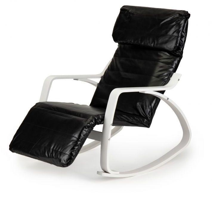 Fotel bujany GOODHOME ekoskóra /biało-czarny/