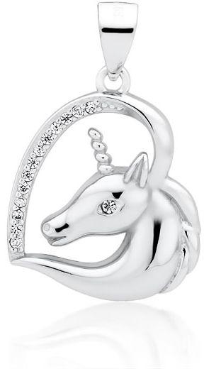 Rodowany srebrny wisior wisiorek jednorożec unicorn cyrkonia cyrkonie srebro 925 Z1730C_W