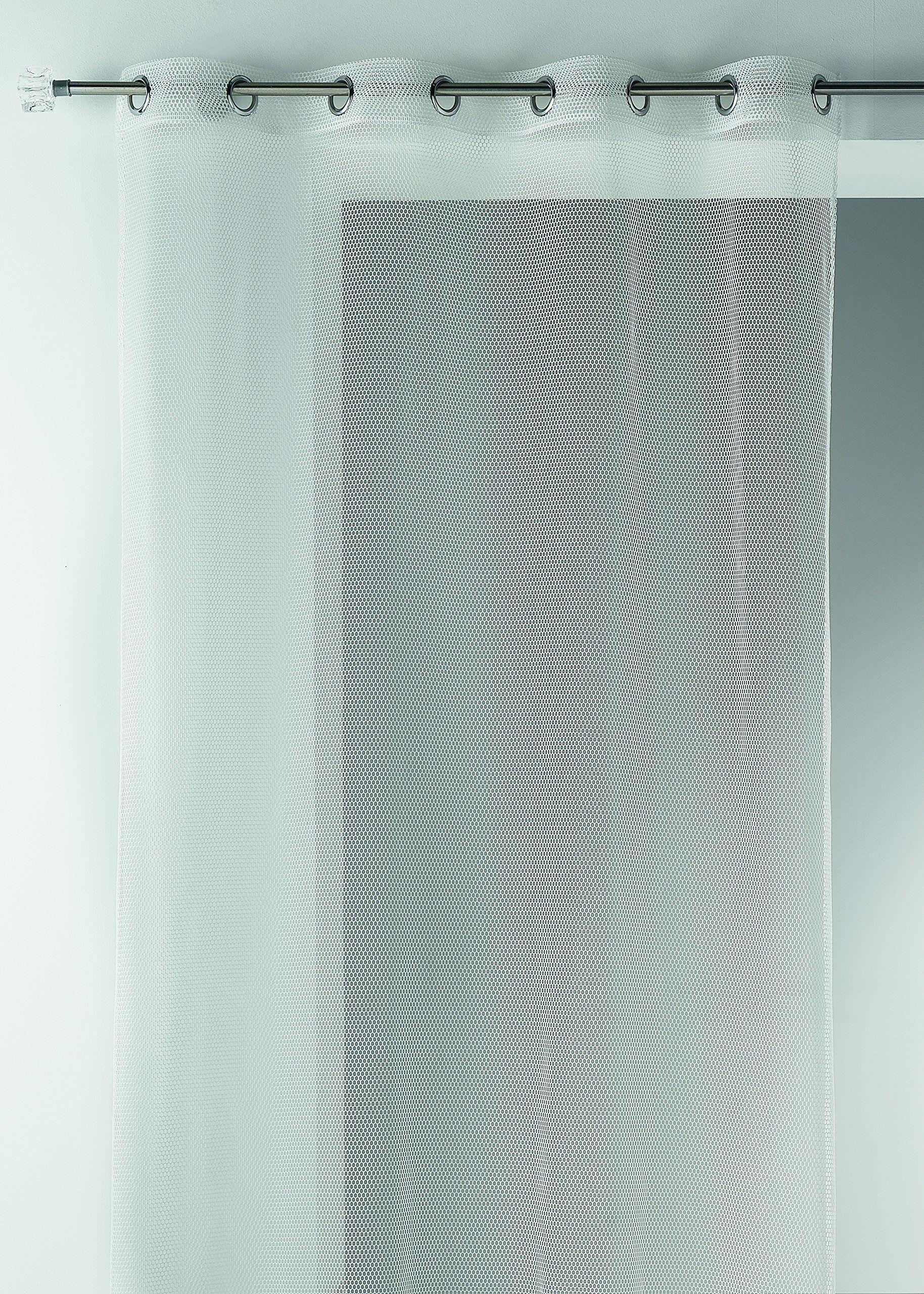 Home Maison HM6909302 firanki z siatki Mesh, z poliestru, 140 x 260 cm, w kolorze kości słoniowej