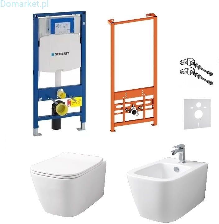 Kompletny zestaw Ivetta serii Rimles: misa WC, bidet oraz stelaże podtynkowe Geberit UP320