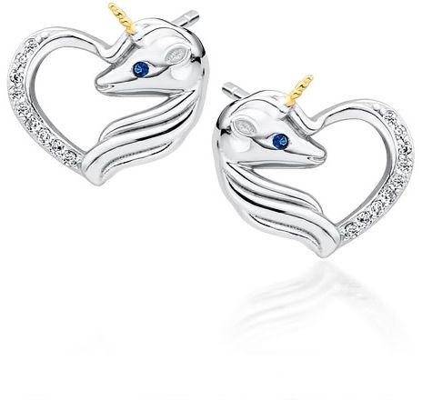 Delikatne rodowane srebrne kolczyki serca jednorożce unicorn cyrkonie srebro 925 Z1728EGR_WBL