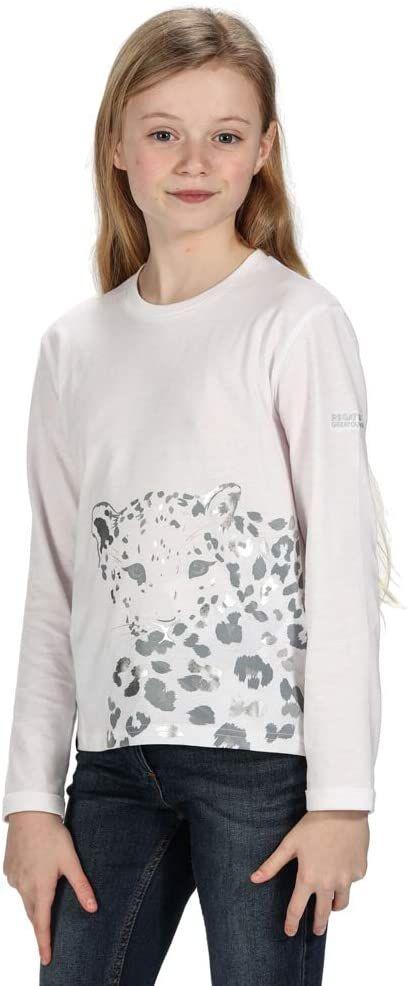 Regatta Unisex dziecięca Wenbie Coolweave bawełniana koszulka z długim rękawem z nadrukiem graficznym t-shirty/koszulki polo/kamizelki biały 3-4