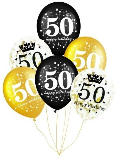 Balony na 50 urodziny 6 sztuk 400155