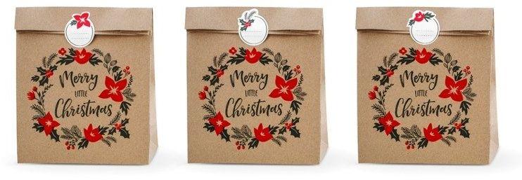 Torebki na prezenty Merry Little Christmas kraft 25 x 11 x 27cm 3szt TNP2-031