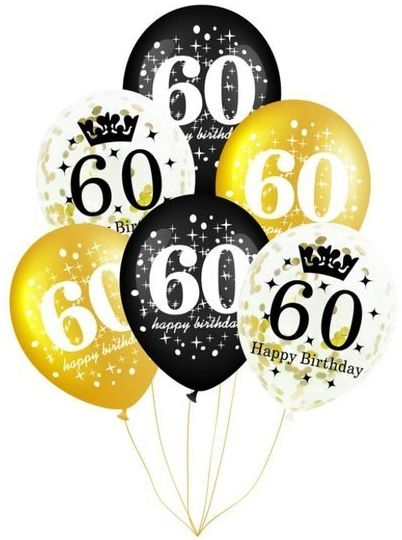 Balony na 60 urodziny 6 sztuk 400156