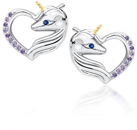 Delikatne rodowane srebrne kolczyki serca jednorożce unicorn cyrkonie srebro 925 Z1728EGR_VBL