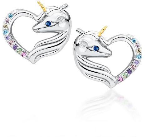 Delikatne rodowane srebrne kolczyki serca jednorożce unicorn cyrkonie srebro 925 Z1728EGR_MUBL