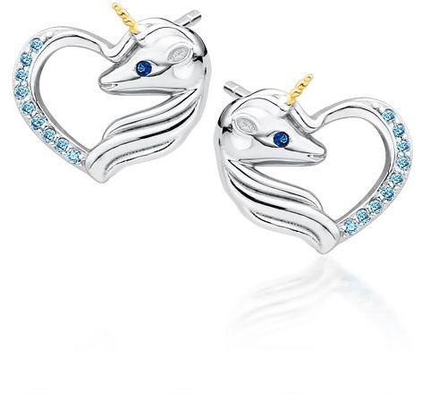 Delikatne rodowane srebrne kolczyki serca jednorożce unicorn cyrkonie srebro 925 Z1728EGR_AQBL