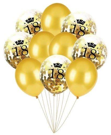 Balony na 18 urodziny złote 10 sztuk 400122