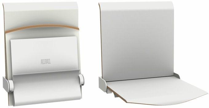 Straponten - naścienne siedzisko profilowane z oparciem i gazetnikiem składane manualne (TPS1G) ALLHALL