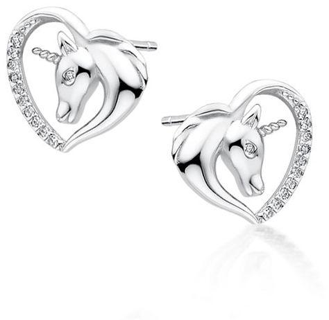 Delikatne rodowane srebrne kolczyki serca jednorożce unicorn cyrkonie srebro 925 Z1730E_W