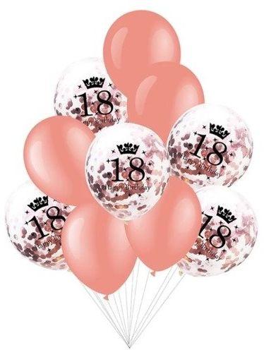 Balony na 18 urodziny różowe złoto 10 sztuk 400503