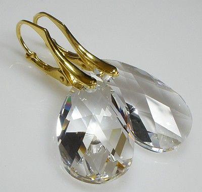 SWAROVSKI piękne kolczyki ZŁOCONE Crystal 22 mm