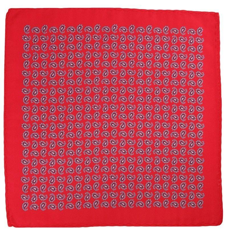 Czerwona Elegancka Poszetka w Łezki -ALTIES- Męska, Wzór Paisley POSZALTTANIA0268