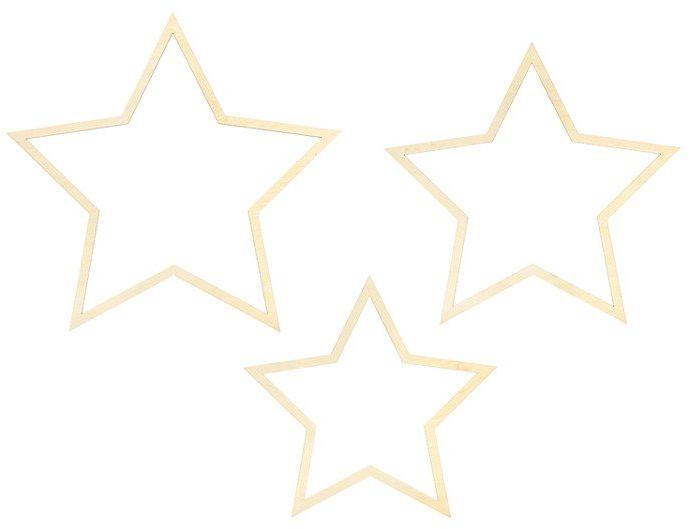 Drewniane zawieszki Gwiazdy 3szt. ZDD4-100