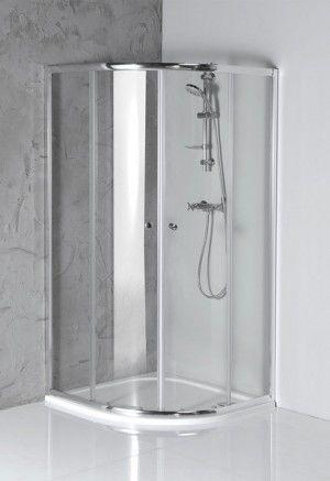 ARLETA Kabina prysznicowa narożna półokrągła 90x90x185 cm, profil chrom, szkło czyste HLS900