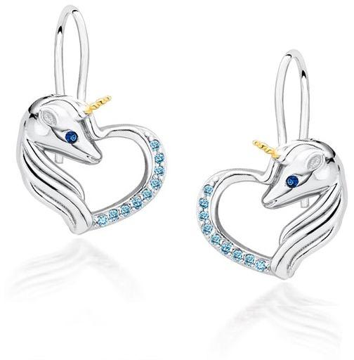 Delikatne wiszące rodowane srebrne kolczyki serca jednorożce unicorn cyrkonie srebro 925 Z1728DGR_AQBL