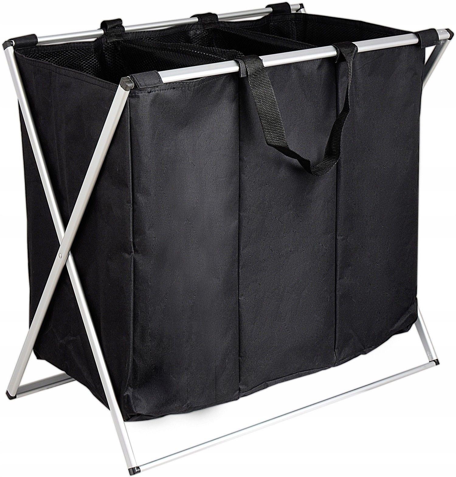 Pojemnik kosz na pranie 3 komory czarny 90l - Yoka