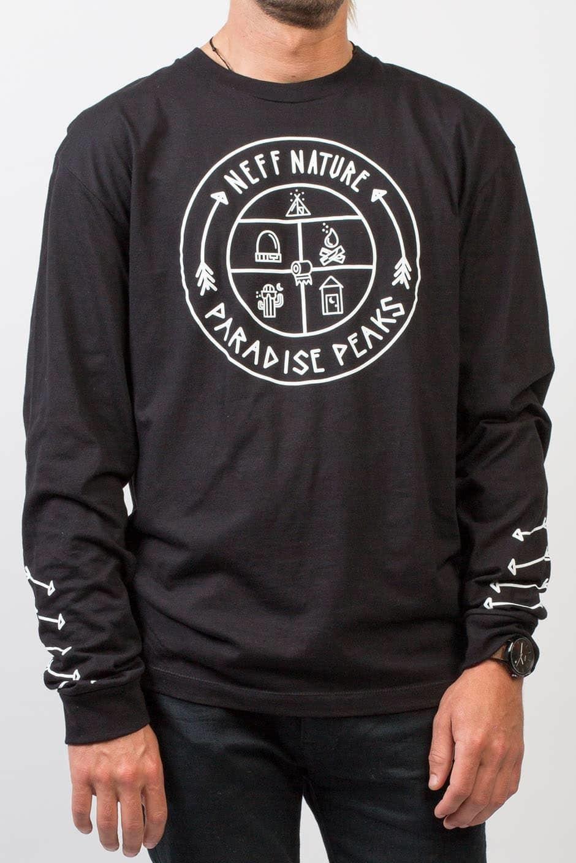 t-shirt męski NEFF PARADISE PEAKS LS TEE BLACK