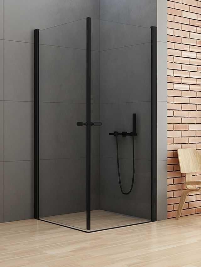 New Trendy New Soleo Black kabina prostokątna 80 x 100 cm, wys. 195 cm, szkło czyste 6 mm D-0230A/D-0232A