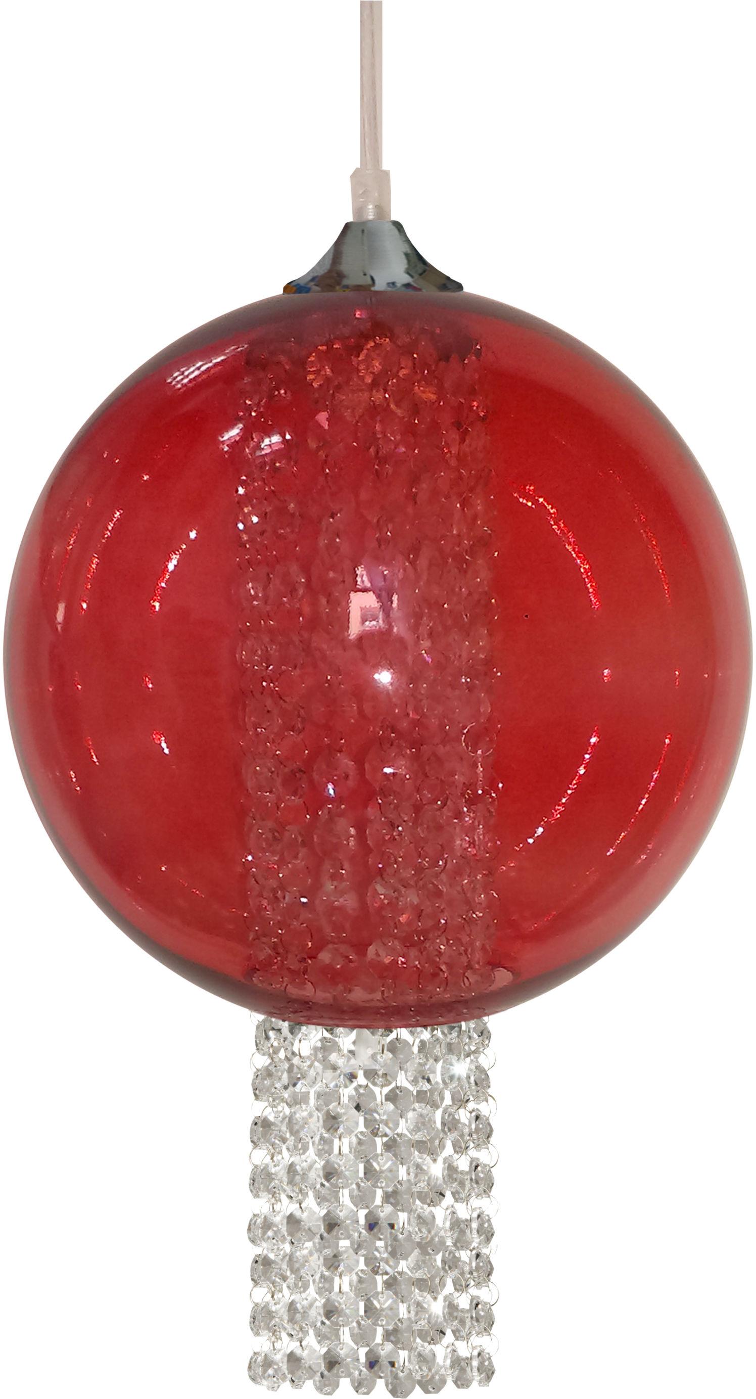 Candellux ALLANI 31-26699 lampa wisząca szklany klosz barwiony czerwony z kryształkami 1X60W E27 25 cm