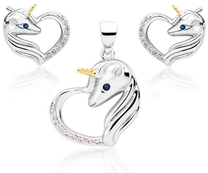 Delikatny rodowany srebrny komplet serca jednorożce unicorn cyrkonie srebro 925 Z1728ZGR_LPBL