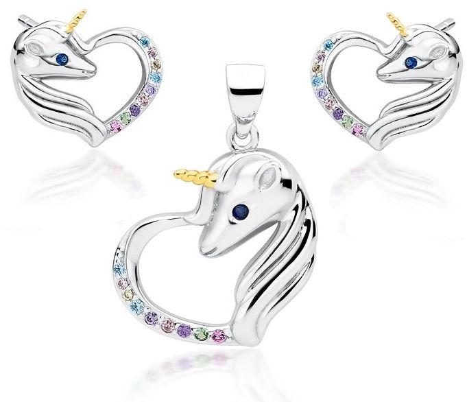 Delikatny rodowany srebrny komplet serca jednorożce unicorn cyrkonie srebro 925 Z1728ZGR_MUBL