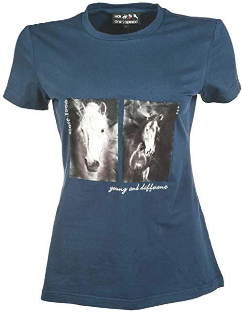 HKM Męski T-shirt -Two horses, ciemnoniebieski, XL