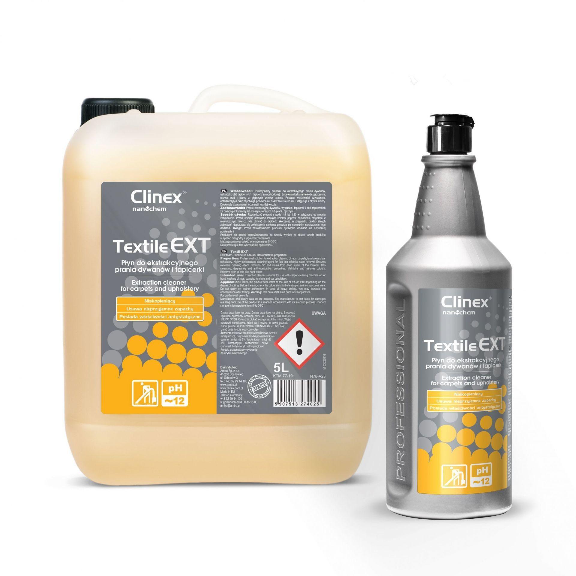 Textile EXT Clinex 1L - Płyn do ekstrakcyjnego prania dywanów i tapicerki