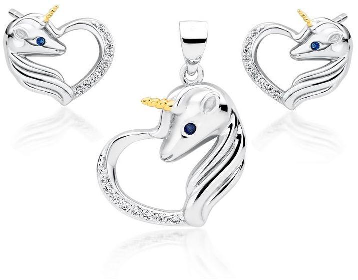 Delikatny rodowany srebrny komplet serca jednorożce unicorn cyrkonie srebro 925 Z1728ZGR_WBL