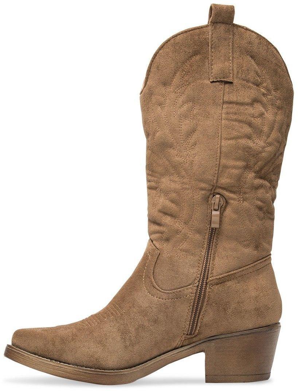 Wegańskie Kowbojki damskie Ideal Shoes MR-1881 Khaki